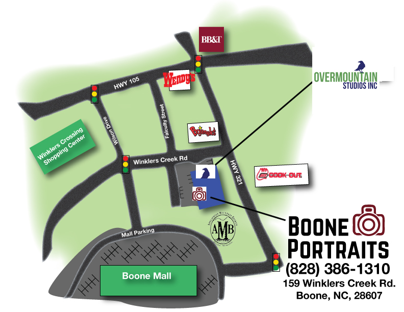 Map to Boone Portraits